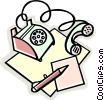 Vector Clipart picture  of a telephone with pad and pencil