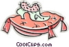 Vector Clip Art graphic  of a shoe on a pillow