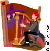 Vector Clip Art image  of a harp player