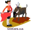 Vector Clip Art image  of a bull fighter