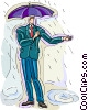 Vector Clipart illustration  of a man standing in the rain