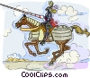 Vector Clip Art graphic  of a Knight on horseback