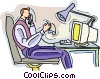 Vector Clip Art image  of a working at computer talking on
