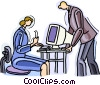 woman at computer, man talking to her Vector Clip Art image