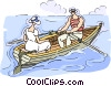 Vector Clip Art graphic  of a couple in row boat