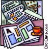 Vector Clip Art image  of a printing press with proofs and