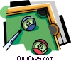 Vector Clipart graphic  of a Pool table with balls and cue
