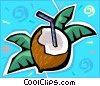 Vector Clipart picture  of a coconut