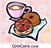 Vector Clip Art picture  of a coffee and donuts