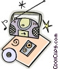 portable stereo, CD, tapes Vector Clip Art picture