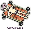 Vector Clip Art graphic  of a man laying on a bed of nails