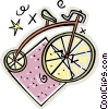 Vector Clip Art graphic  of a penny bicycles