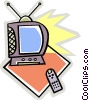 Vector Clip Art graphic  of a TV