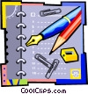 Vector Clip Art image  of a pen and pencil