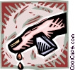 Vector Clip Art graphic  of a finger bleeding from a wound