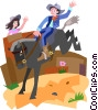 Vector Clip Art graphic  of a cowboy
