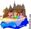 Vector Clip Art image  of a boat
