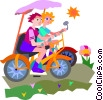 Vector Clipart graphic  of a Couple riding bicycles