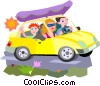 Vector Clip Art picture  of a car vacation