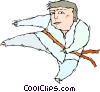 Martial artist performing flying kick Vector Clipart graphic