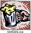Vector Clipart graphic  of a hand with a mug of beer