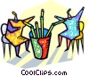 two people drinking from straws Vector Clipart illustration