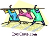 two people returning from a successful hunt Vector Clip Art picture