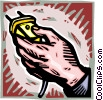 Vector Clipart graphic  of a hand with electrical cord