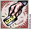 hand with credit card Vector Clipart picture