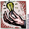 Vector Clip Art graphic  of a hand with light bulb