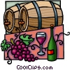 wine barrels with grapes and wine bottle Vector Clip Art graphic