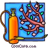 Vector Clipart picture  of a insecticide spray with fruit