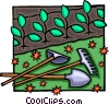 Vector Clip Art image  of a garden tools with seedlings