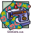 sewing machine at work Vector Clipart picture