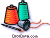 Vector Clipart image  of a thimble with thread and needle