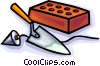 brick with trowels Vector Clip Art image
