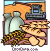Vector Clipart graphic  of a Harvesting grain