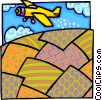 Vector Clipart picture  of an airplane crop dusting