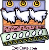 Vector Clipart picture  of a hens laying eggs