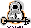 Vector Clipart image  of a lock and key
