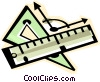 Vector Clipart illustration  of a ruler and triangle