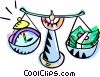 Vector Clip Art image  of a scales balancing time and
