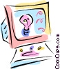 Vector Clipart picture  of a computer screen with idea