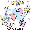 Vector Clipart graphic  of a e-mail via satellite