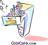 Vector Clip Art graphic  of a filing cabinet with fixed