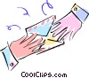 Vector Clipart illustration  of a hands passing a personal