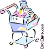 Vector Clip Art image  of a grocery cart with assets