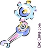 Vector Clip Art picture  of a wrench turning gears