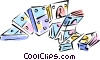 Vector Clipart picture  of a money and dominoes
