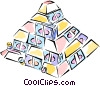 Vector Clip Art image  of a pyramid of money